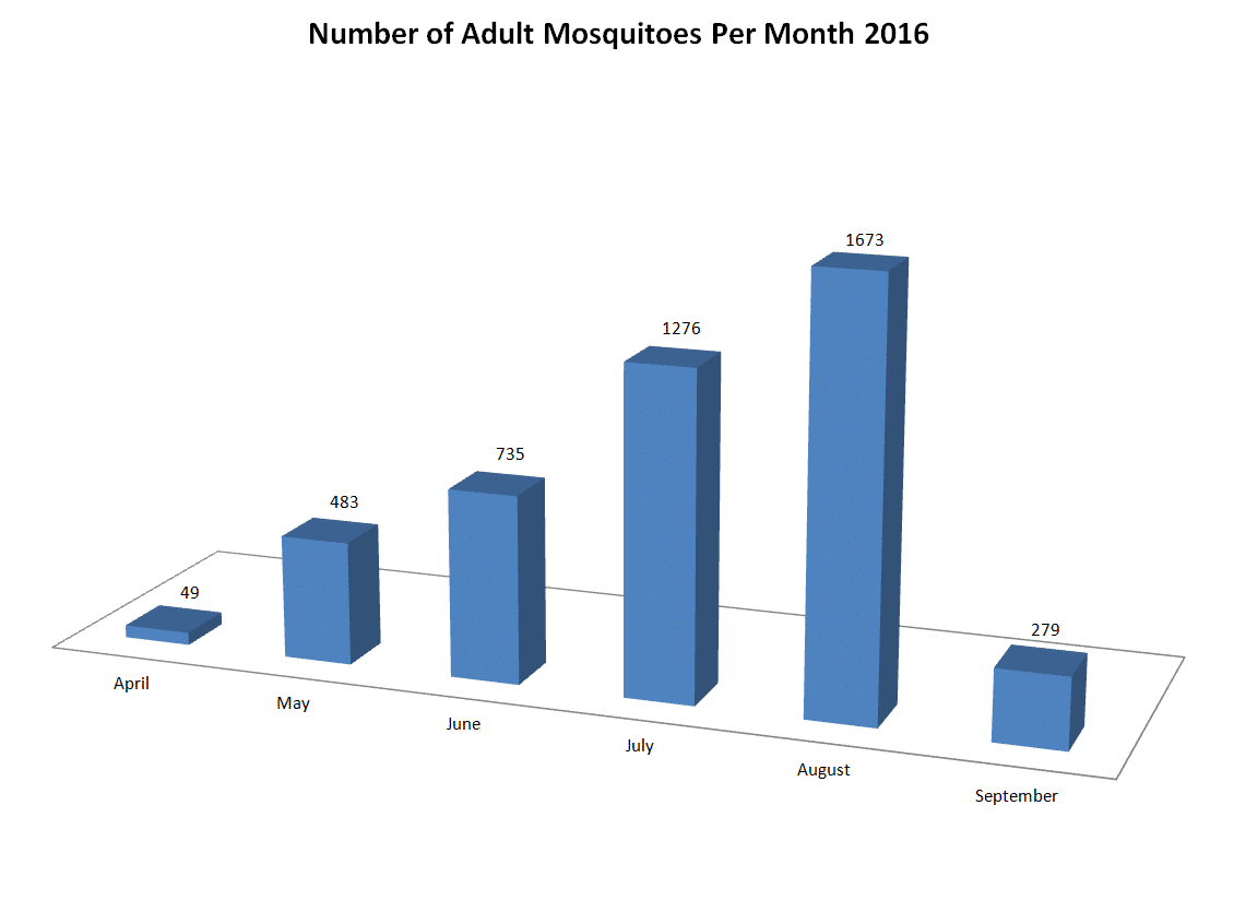 Number of Adult Mosquitoes Per Month - 2016